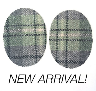 Image of Iron-on Wool Elbow Patches -light green/ grey plaid - Limited Edition!