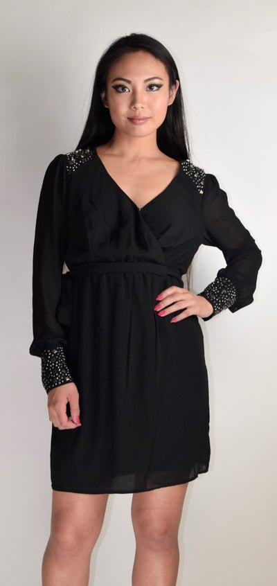 Image of Black Dress with Beaded Cuff Sleeves