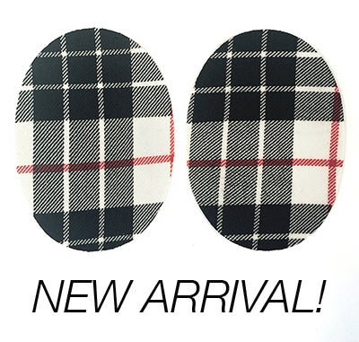 Image of Iron-on Wool Oval Elbow Patches -Black/ white/ red plaid - Limited Edition!