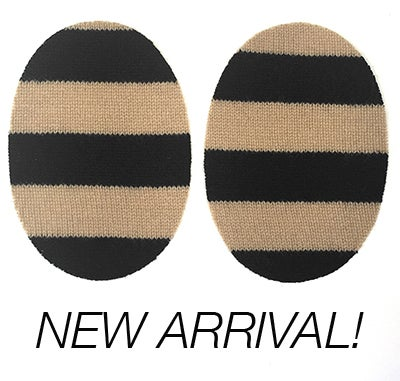 Image of Iron-On Cashmere Elbow Patches  - Black & Camel Ovals - Limited edition!