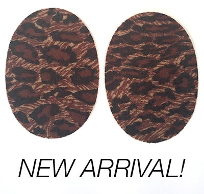Image of Iron-On Cashmere Elbow Patches  - Leopard Print Oval - Limited Edition!