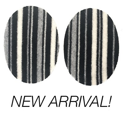 Image of Iron-On Cashmere Elbow Patches  - Black/Grey/Cream Striped Ovals - Limited Edition!