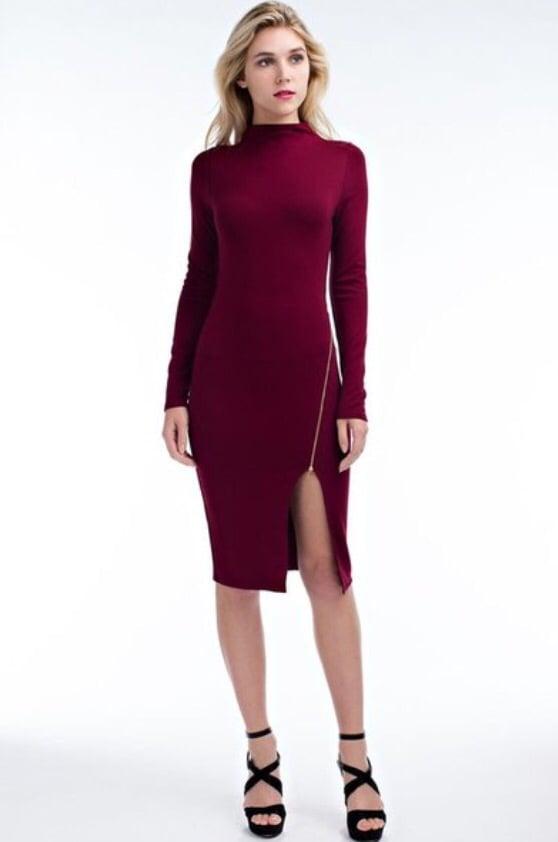 Image of Burgundy Bodycon w/Zipper