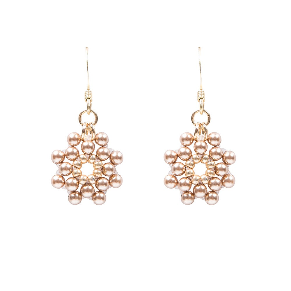 Image of Bronze pearl daisy earrings