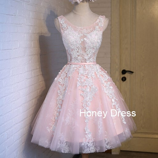Pink Tulle Handmade Short Gown Prom Dress