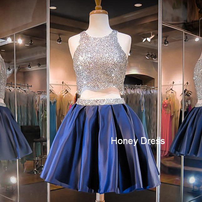 Image of Dark Blue/Pink Satin Beaded Cocktail Dress, Beaded Bodice Two-Piece Short Dresses With keyhole Back