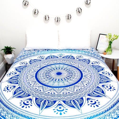 Image of Blue Sun Mandala Throw or Throw Set from