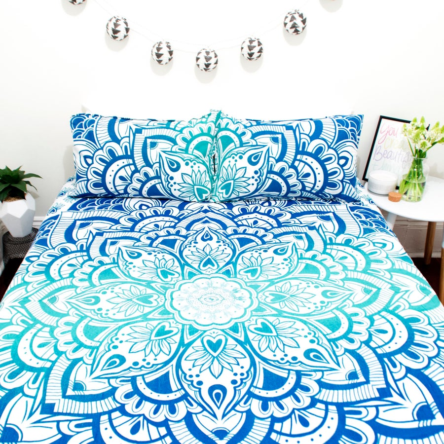 Image of Blue Ombre Lotus Doona Set-Marked down from $110, NOW