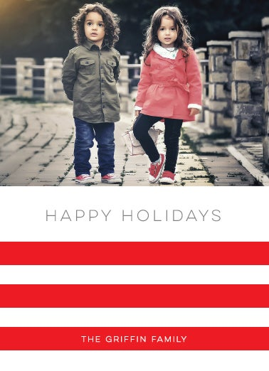 Image of HAPPY STRIPE HOLIDAY CARD