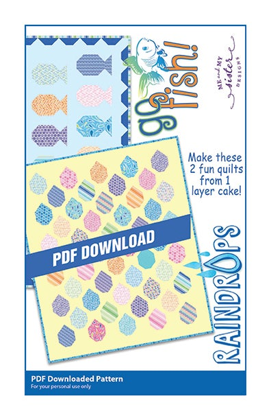 Image of Go Fish & Raindrops PDF pattern