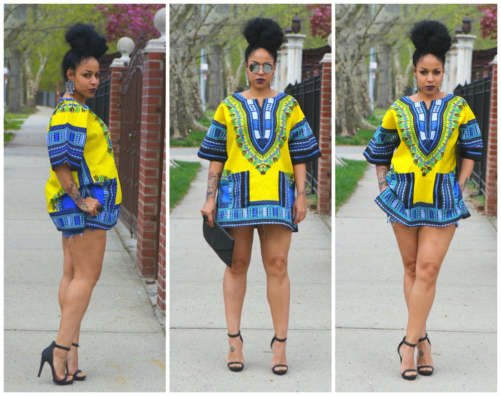 Image of Unisex Dashiki YELLOW African Shirt Dress - Kings and Queens