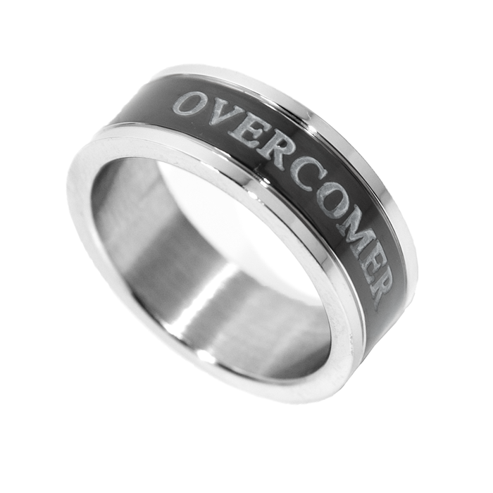 Image of Overcomer - Black Channel Ring - Unisex