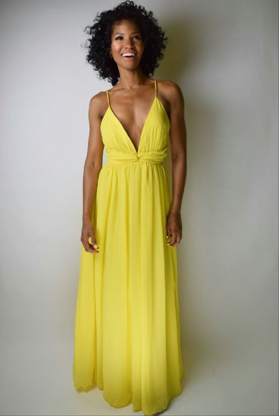 Image of Haltered Top Yellow Maxi Dress