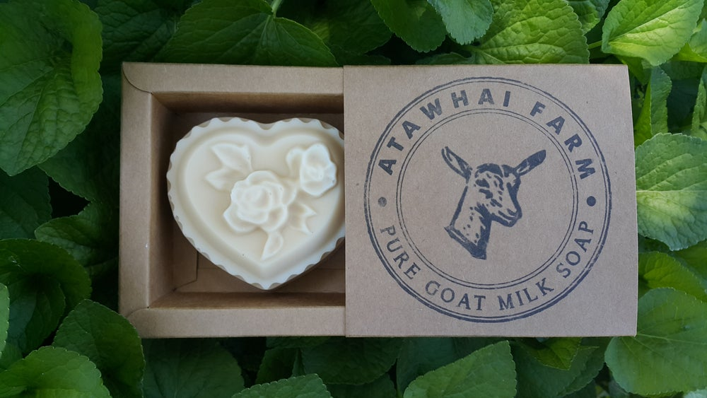Image of Pure Goat Milk Soap -Large heart with flowers