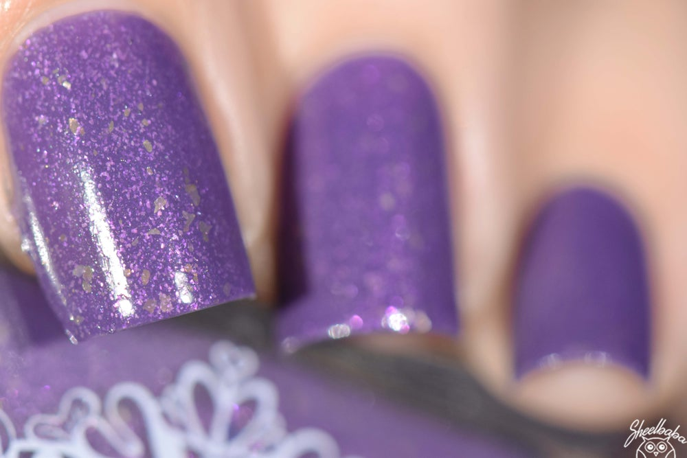 Image of ~Queen Adeline~ dark lavender crème w/a bright purple flash and gold flakes!