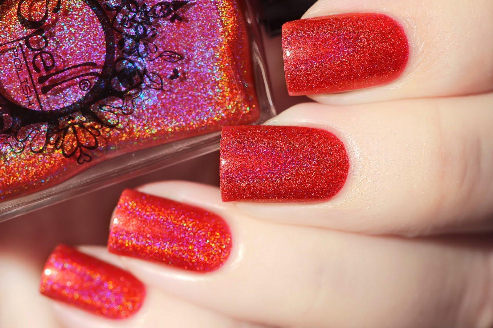 ~True Warriors~ warm cherry red linear holo nail polish!