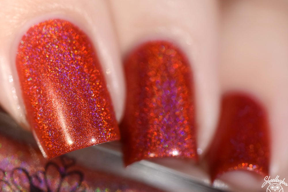 Image of ~True Warriors~ warm cherry red linear holo nail polish!