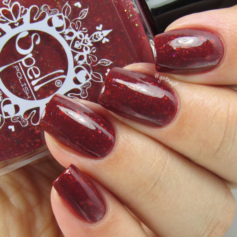 Image of ~Abandoned Treehouse~ burgundy brown crème w/gold & multichrome flakes!