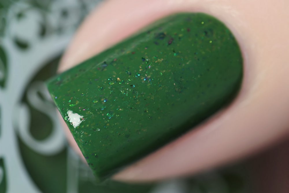 Image of ~Tangled Trees~ fern green crème w/pink shimmer and multichrome flakes!