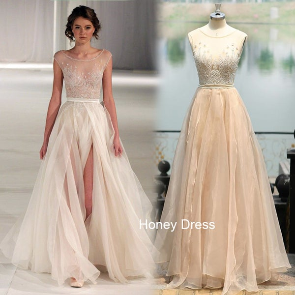 Image of Champagne Tulle illusion Cap Sleeves Beading Evening Gown Prom Dress With Side Slit