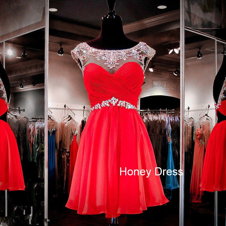 Image of Red Chiffon Illusion Sweetheart Prom Dress,Cap Sleeves Beaded Short Party Dresses With Crystals