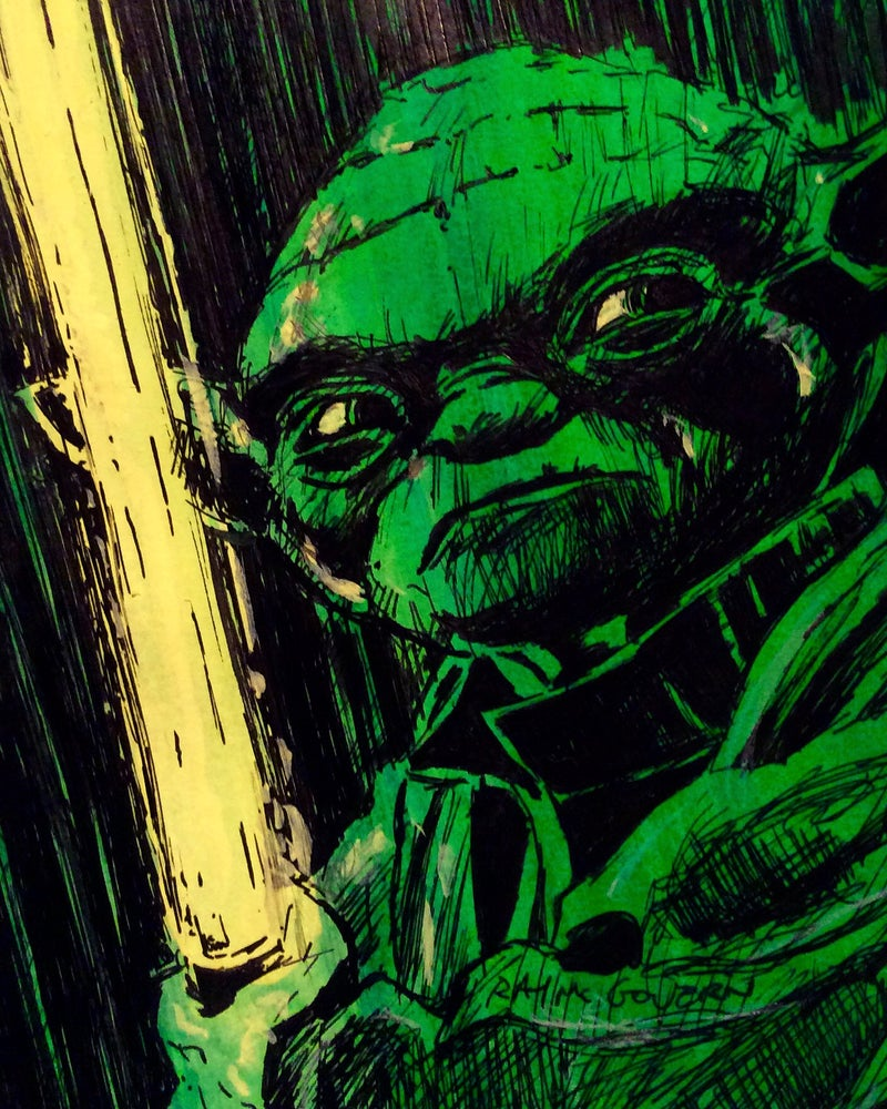 Yoda With Lightsaber Ray Mcgovern Artist