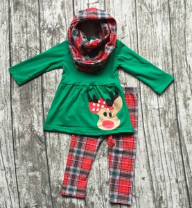 Image of Rudolph the Red Nosed Reindeer three piece outfit, infant, toddler girl, holidays