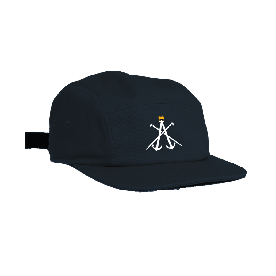 Image of KINGZ ART ILLERY SERIES - 5 PANEL OTTO HAT - NAVY, GOLD & WHITE