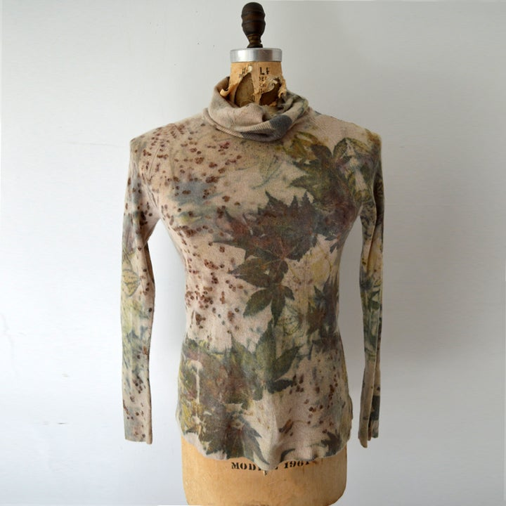 Image of Japanese maple eco print cashmere turtleneck sweater