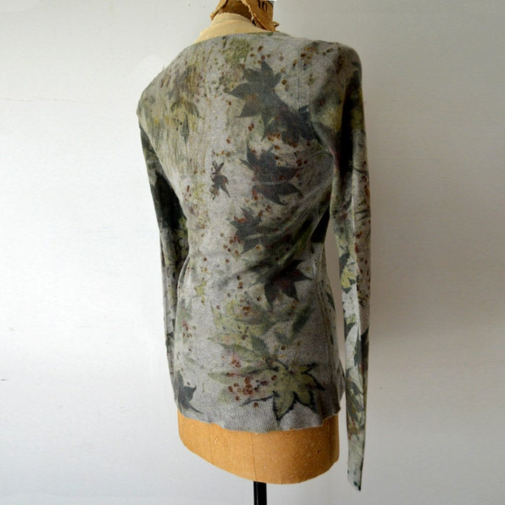 Image of gray japanese maple cashmere vneck sweater