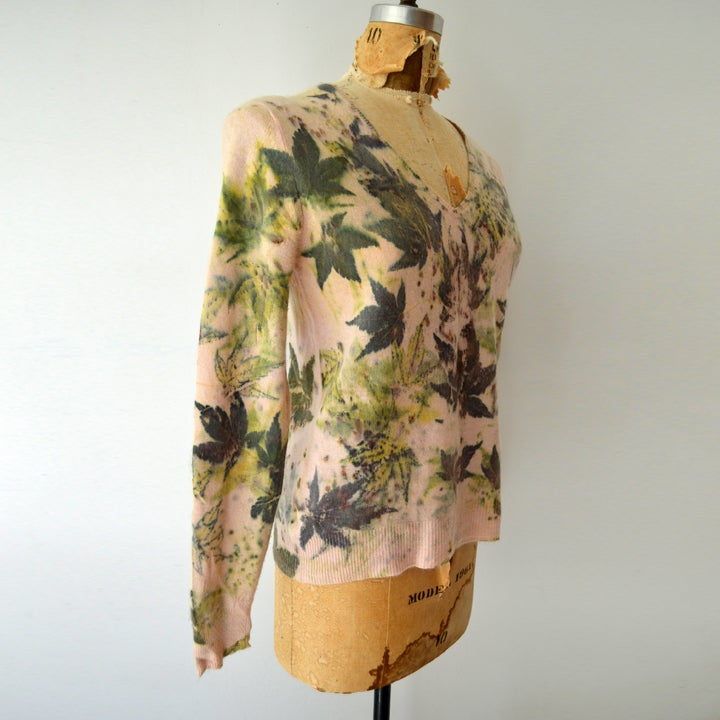 Image of Japanese maple eco print pink cashmere sweater