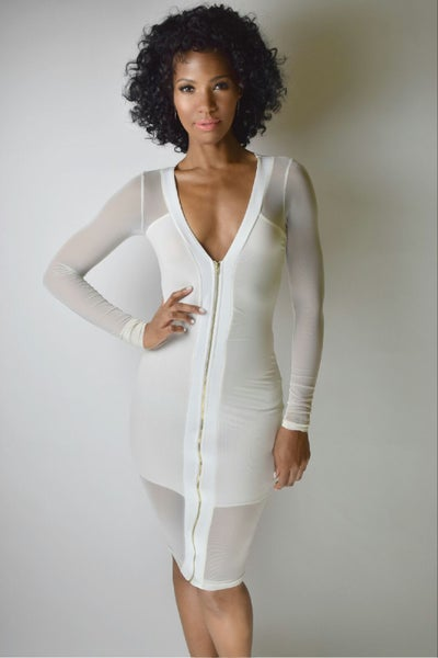 Image of Sheer White Fitted Zipper Dress