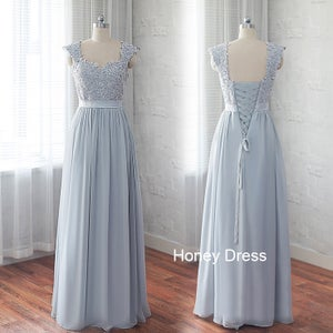 Image of Chiffon Grey Lace Sweetheart Long Bridesmaid Dresses With Beading