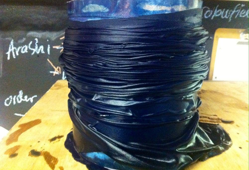 Image of Indigo Arashi shibori silk scarf