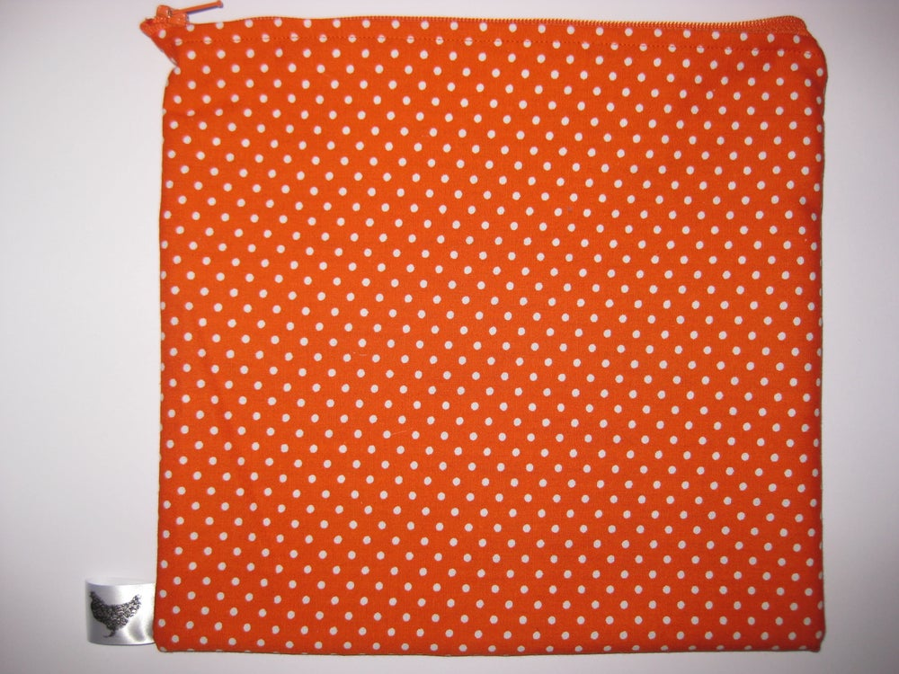 Image of Polka dots on orange (new large pouch)