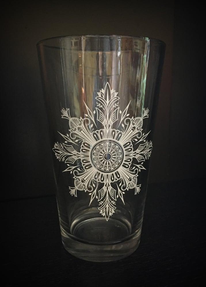 Image of Snowflake Mandala Pint Glass