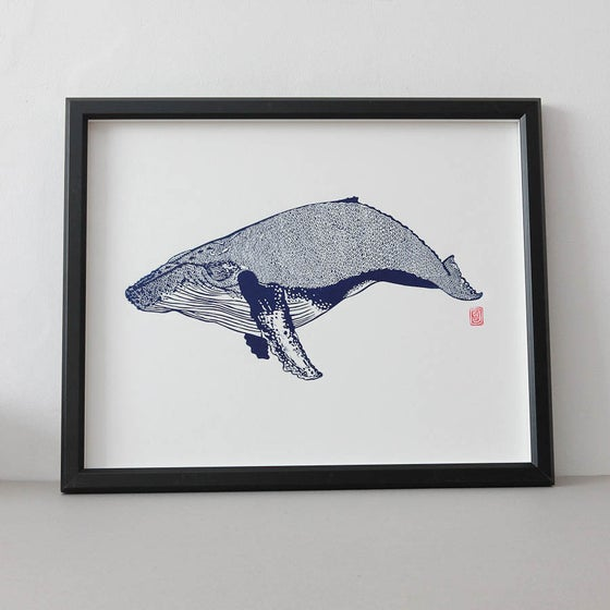 Image of Blue Humpback Whale Lino Print