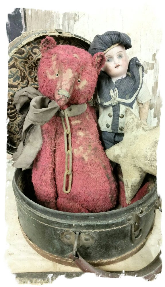 "Image of Weathered Tattered RED Teddy Bear - 12.5"" w/ vintage chain By Whendi's Bears"