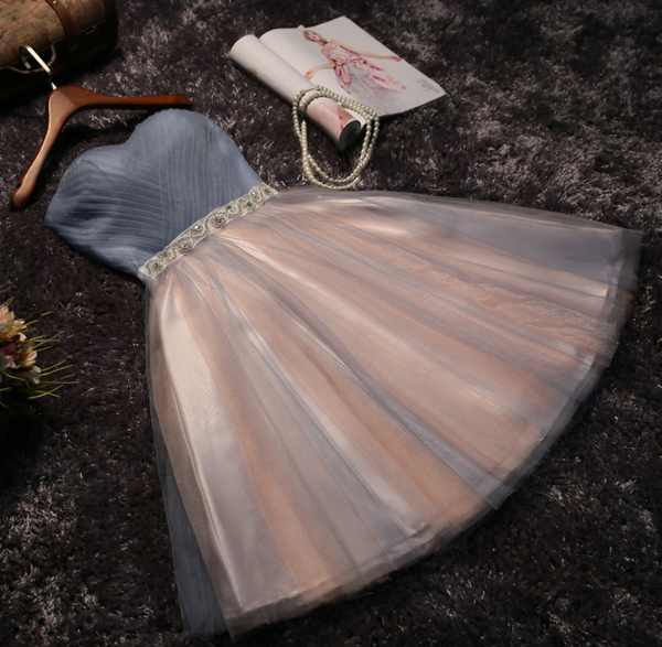 Image of The new party dress short bridesmaid dress skirt bra grey skirt dress female sisters
