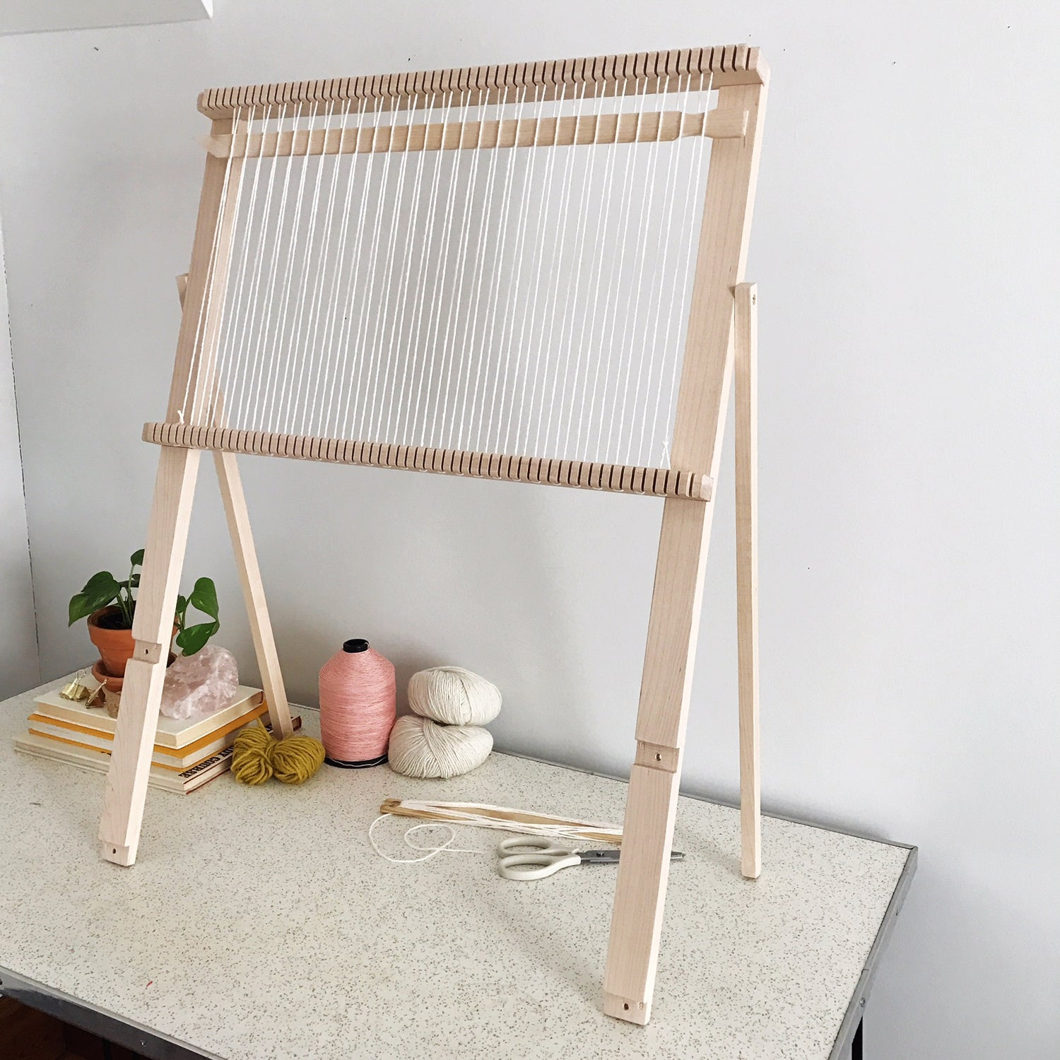 "Image of Large Adjustable Maple Weaving Loom with Sword 24"" x 32"""