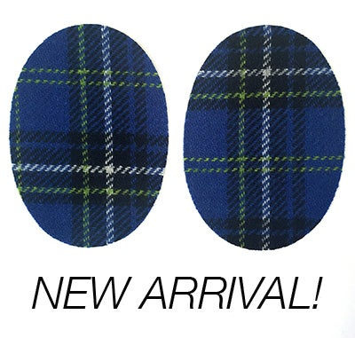 Image of Iron-on Wool Elbow Patches -Blue Green Black Plaid- Limited Edition!