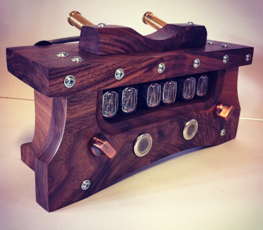 Image of Nixie Clock MKII (Joe Rogan Replica) - Black Walnut & Mixed Hardware