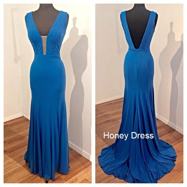 Image of Royal Blue Jersey V-Neck Long Prom Dress, Deep V Back Sheath Formal Gown