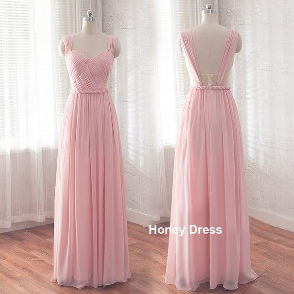 Image of Pink Chiffon Sweetheart Floor Length Long Prom Dress,Braided Belt Pleats Ruching Bridesmaid Dresses