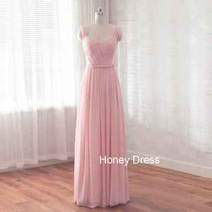 Image of Pink Chiffon Sweetheart Floor Length Long Prom Dress,Braided Belt Pleats Ruching Bridesmaid Dresses