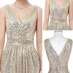 Image of Gold Sequins V-Neck Ruche Floor Length Long Prom Dress,Ruched Bodice V Back Evening Gown
