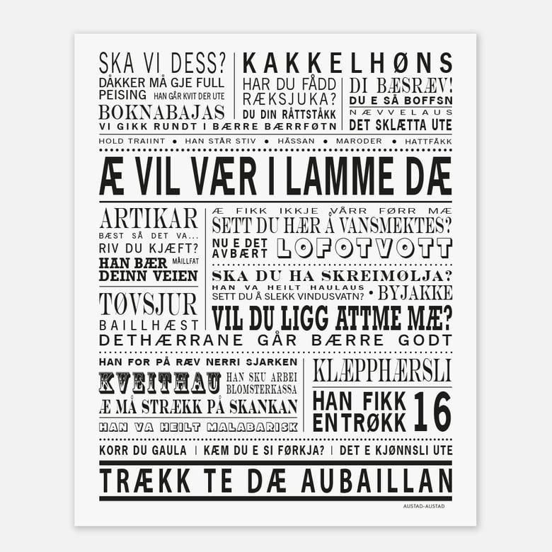 "Image of Lofoten plakat ""Æ vil vær i lamme dæ"""