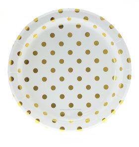 Image of {White & Gold} Polka Dot Dinner Plates