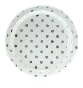 Image of {White & Silver} Polka Dot Dinner Plates