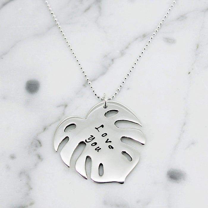 Image of Tropical leaf of love sterling silver necklace